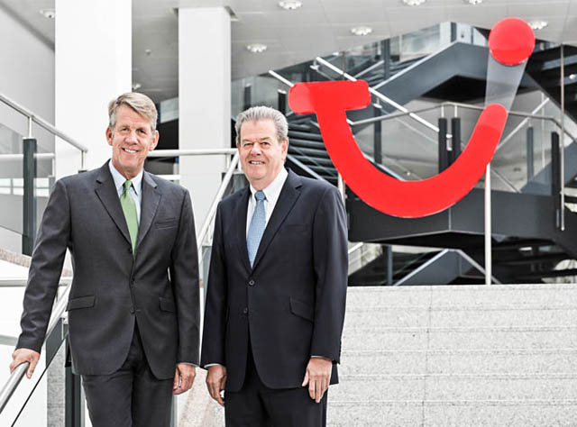 Fritz Joussen ( CEO TUI AG ), Peter Long ( CEO TUI Travel ), Kunde: TUI AG / Hannover 2014 / Foto: Nils Hendrik Mueller